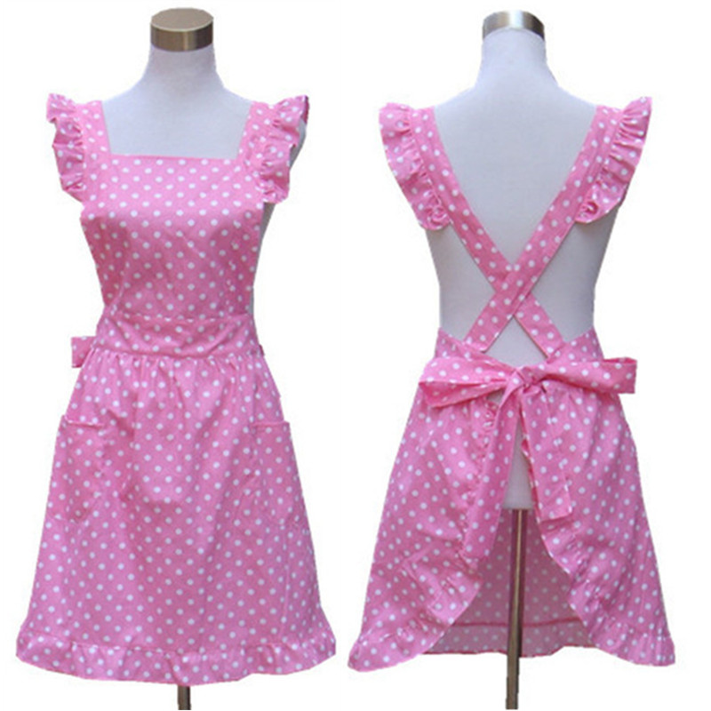 Real Sale Household Cleaning Kitchen Accessories Korean Nail Salons Overalls Cute Princess Aprons 100% Cotton Pink Cooking(China (Mainland))
