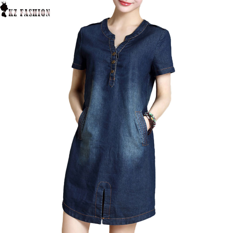 2017 Plus Size Denim Dress Laides Short Sleeve Double Pocket Split Cut Out Sexy Vestidos Cowboy Clothing D69922R(China (Mainland))