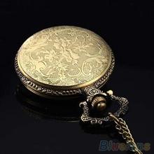Retro Vintage Unique Bronze Quartz Pendant Chain Necklace Clock Pocket Watch 1K3O
