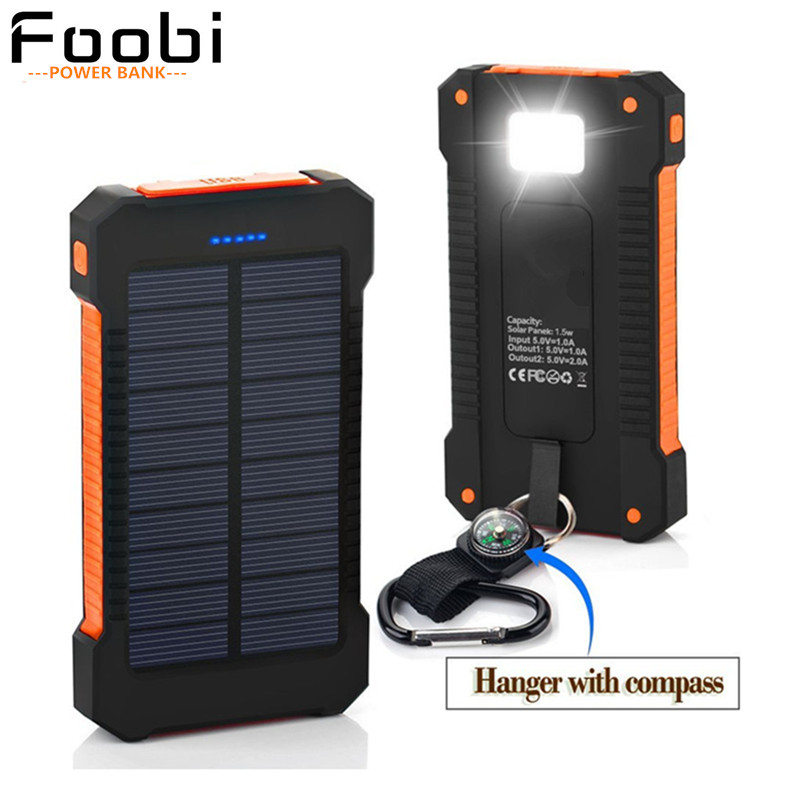 Waterproof Solar Charger 16000mAh Power Bank Solar Battery Charger Dual USB with LED Flashlight with Compass for CellPhones(China (Mainland))