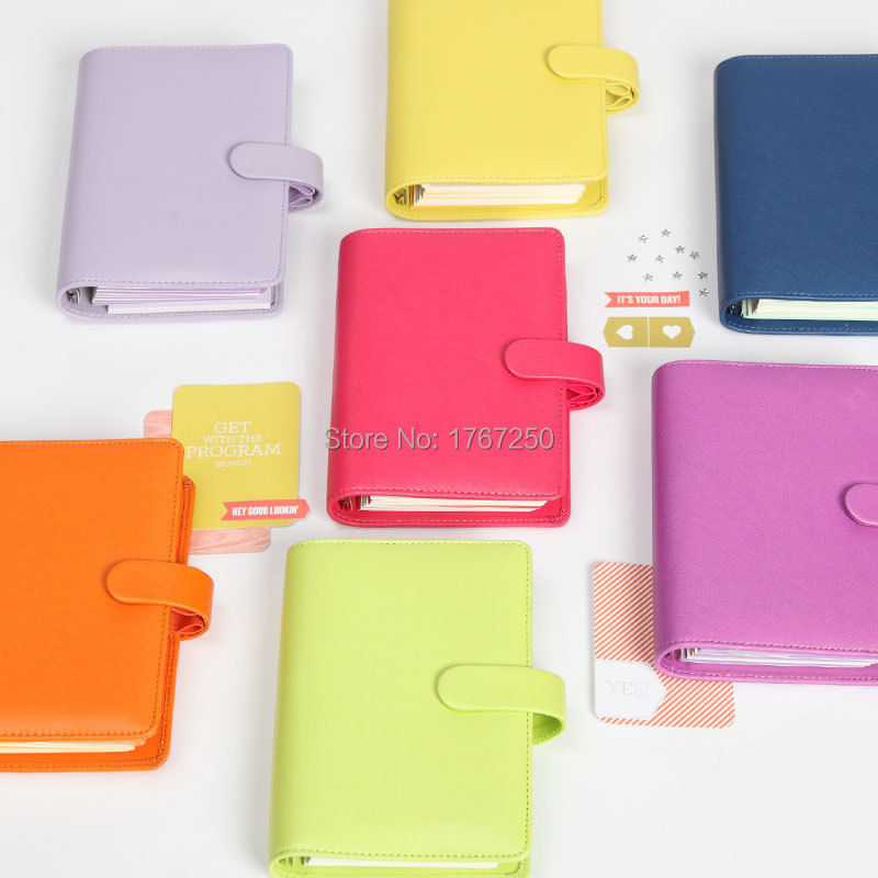 Dokibook Free shipping new notebook colored A5 A6 loose-leaf Time Planner/Organizer Candy Series personal leather Daily Memos(China (Mainland))