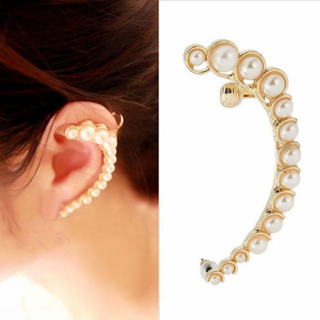 ES304 Imitation Pearl Ear Cuff Stud Earrings For Women Fashion Jewelry Brincos Bijoux 2016 HOT Selling
