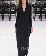 D home brand autumn/winter catwalk new super long black v-neck cashmere wool coat fashion big fur coat