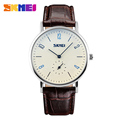 SKMEI Men Women Quartz Wristwatches Fashion Lover Clock Waterproof Genuine Leather Strap Relogio Masculino Feminino Watches