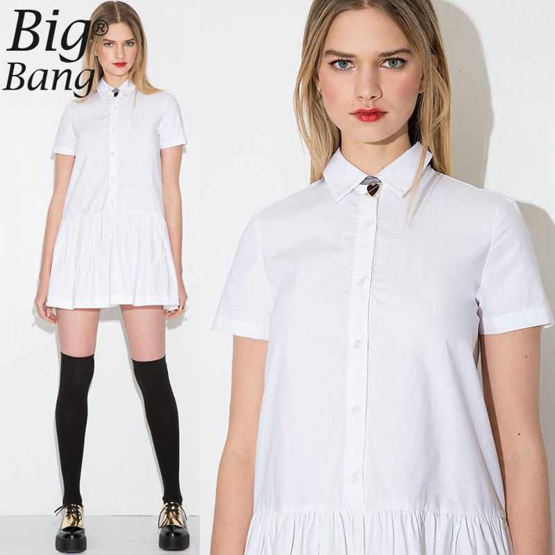 Buy preppy style female shirt dresses Buy white dress shirt