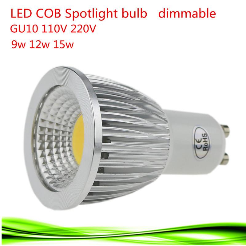 1X Super Bright 9W 12W 15W GU10 LED Bulb Lights 110V 220V Dimmable CREE Led COB Spotlights Warm/Natural/Cool White GU10 LED lamp(China (Mainland))