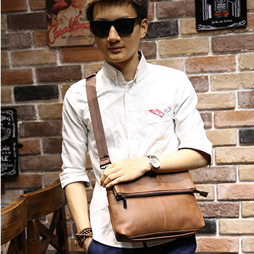 Fashion Male Shoulder Bags High Quality Men Brown PU Leather Casual Handbags Vintage Small Messenger Bags Handbags Business Bag(China (Mainland))