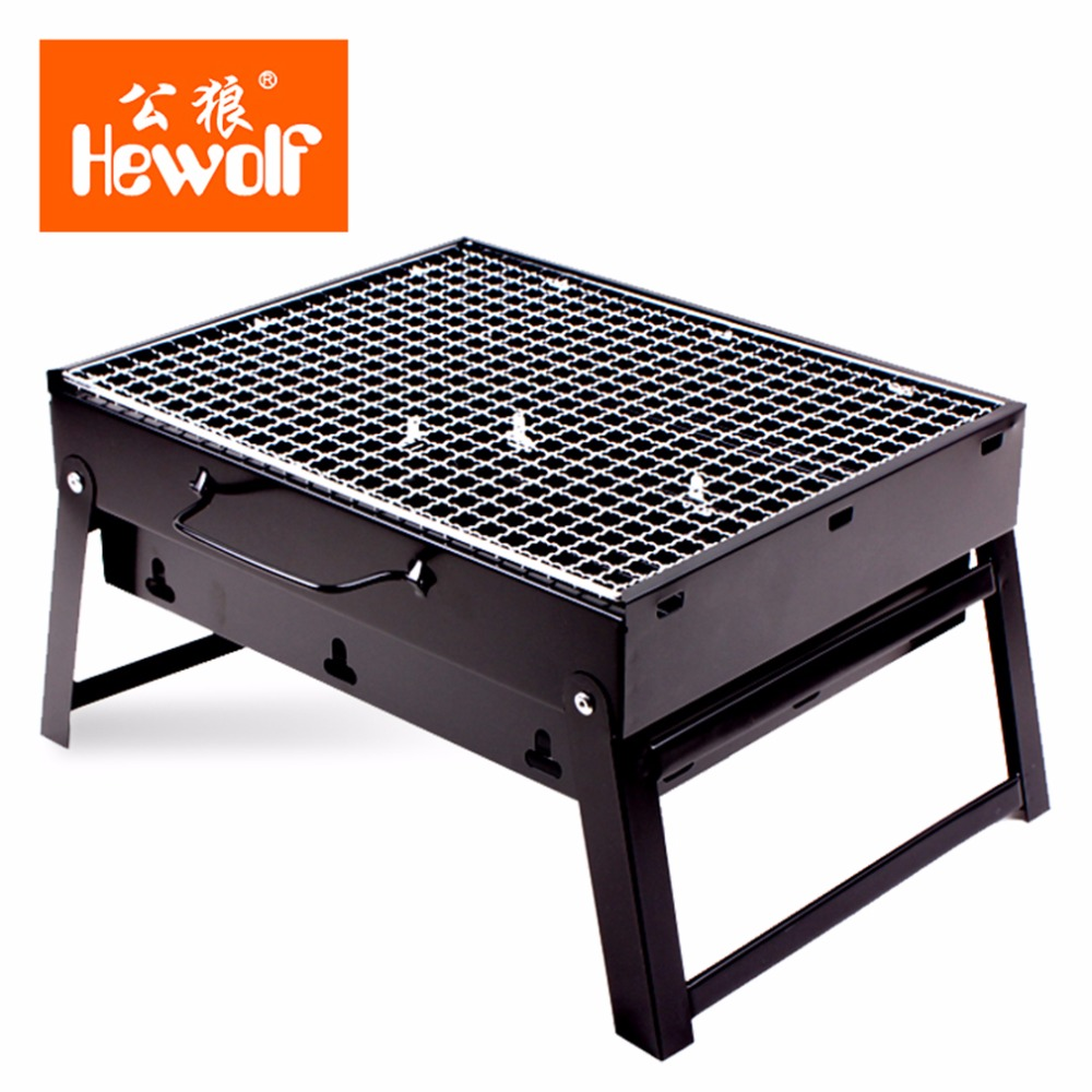 Hewolf Portable Size Outdoor Camping Beach BBQ Barbecue Grill Rack Household Use Lightweight Folding Picnic BBQ Rack Stand New(China (Mainland))