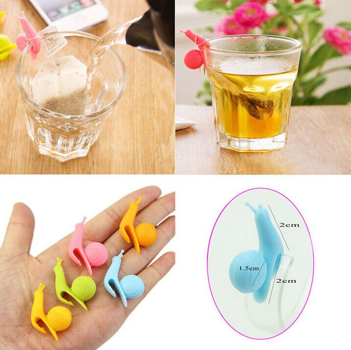 Newest 10pcs Cute Snail Shape Silicone Tea Bag Holder Cup Mug Tea Infusers Strainer Clips Party Decor(China (Mainland))
