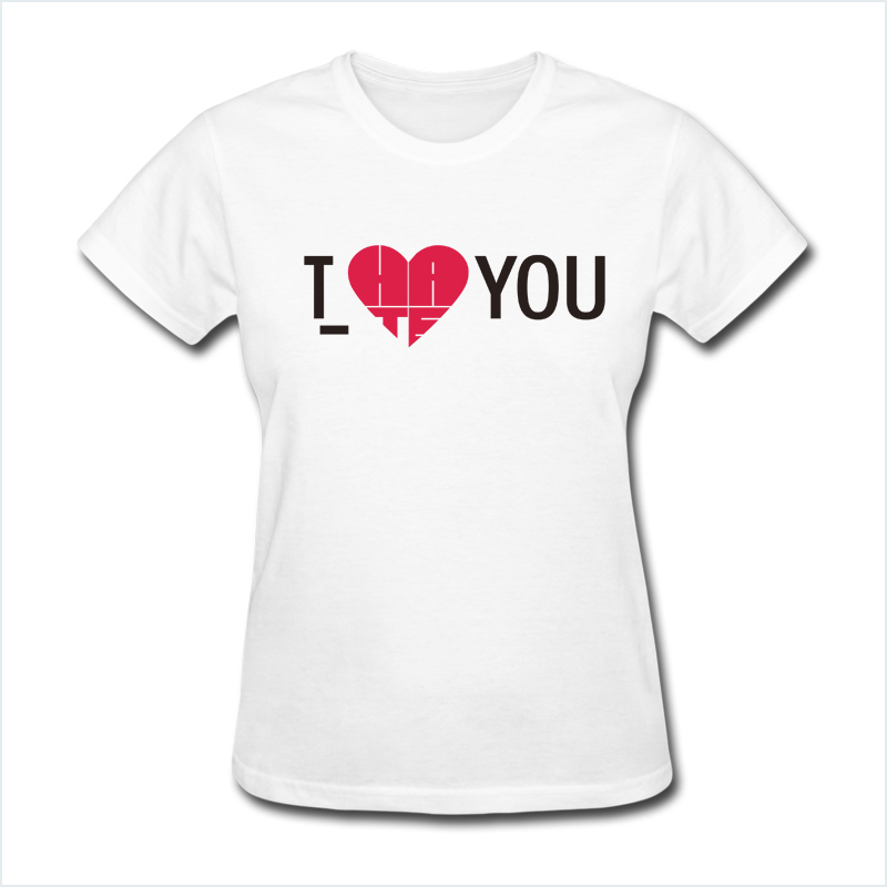 Men And Women Couples Heart Love T Shirts Cotton Lovers T