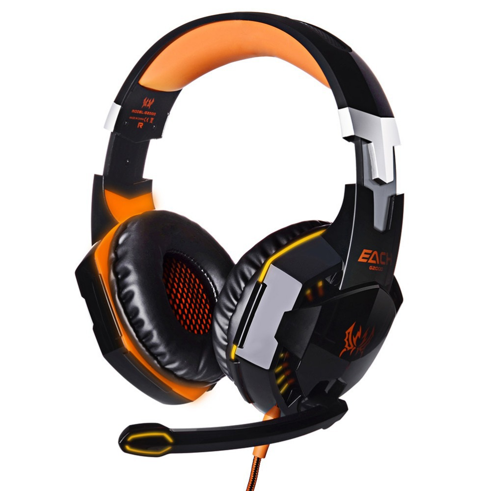 Good Quality EACH G2000 Gaming Wired Noise Isolating Headset With Mic Stereo Bass LED Light For PC Gamer(China (Mainland))