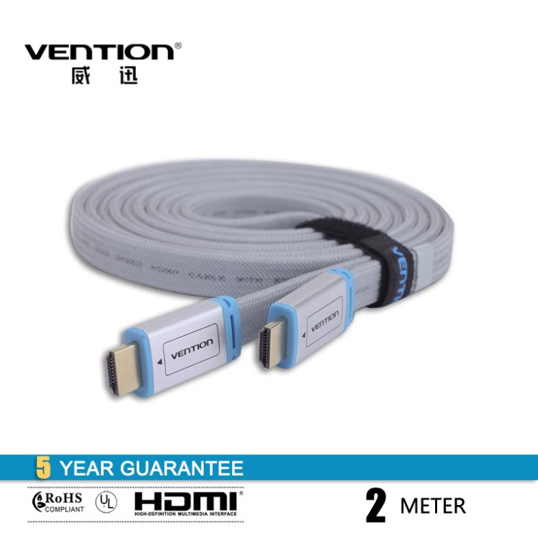 200CM High Speed HDMI 1.4V flat cable 2m hdmi to hdmi audio video cables 1080P HD w/ Ethernet 3D Ready HDTV Ethernet Vention(China (Mainland))