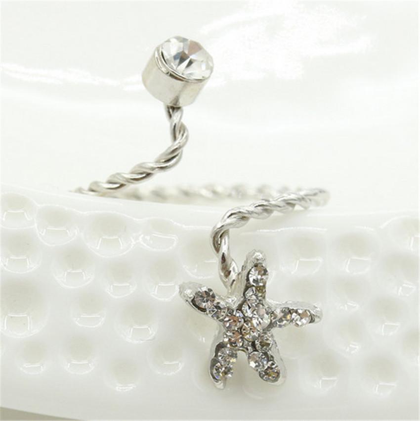 RONGQING 10pcs/lot Beautiful Rhinestone Star Fish Rings Adjustable Starfish Rings Women Gold Silver Anels
