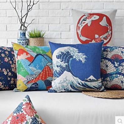 Japanese pillow case, Creative Japanese style animal flower Painting throw pillow case pillow cover wholesale(China (Mainland))
