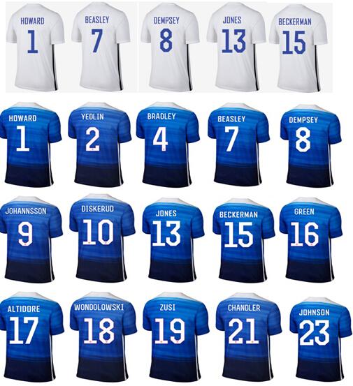 Free Custom 2015 Team USA Soccer Jerseys Blue White DEMPSEY Yedlin ALTIDORE Tim Howard Football Shirt 15/16 USA Soccer Jerseys(China (Mainland))
