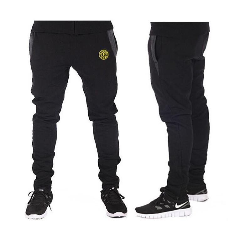 2015 New mens joggers Style Fashion GymShark Casual Skinny Sweatpants Sport Pants 100% cotton Gym Shark joggers(China (Mainland))