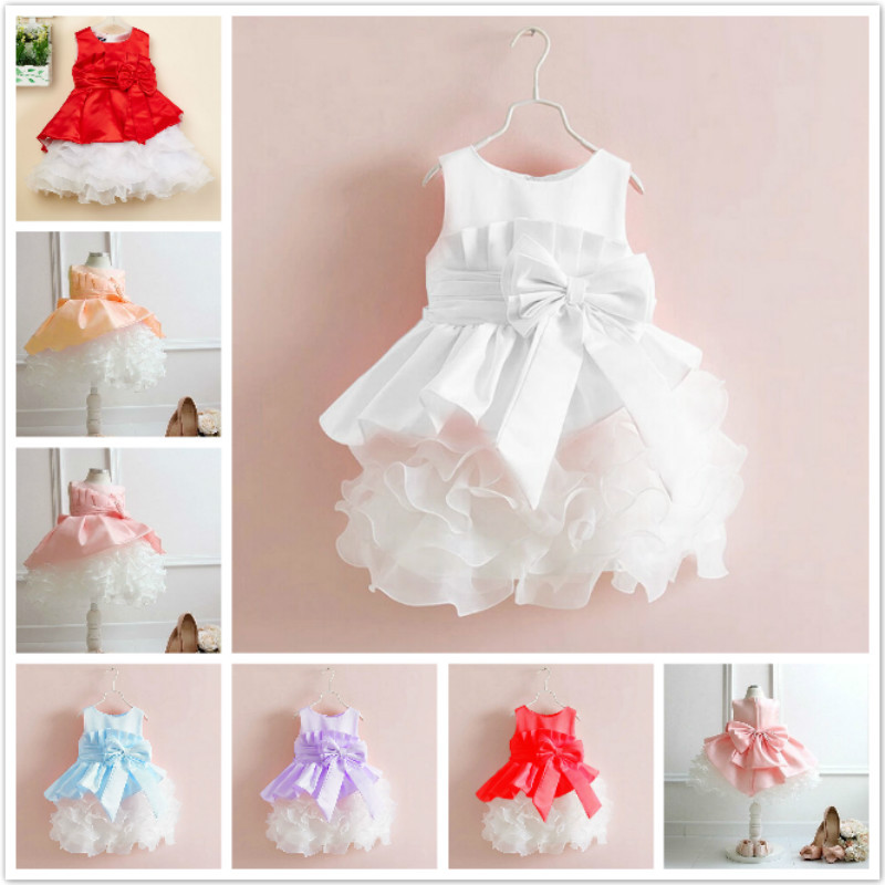 Retail 2015 new sleeveless Waist Chiffon Dress Girls Toddler 3D Flower Tutu Layered Princess Party Bow Kids Formal Dress(China (Mainland))