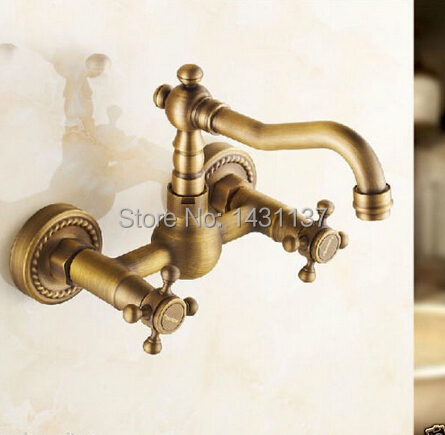 Фотография  high quality Europe style brass material anti brass plating wall mounted kitchen sink tap bathroom basin faucet