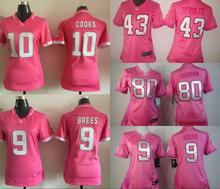 100% stitched women pink love New Orleans Saints ladies 9 Drew Brees 80 Jimmy Graham 10 Brandin Cooks 43 Darren Sproles()