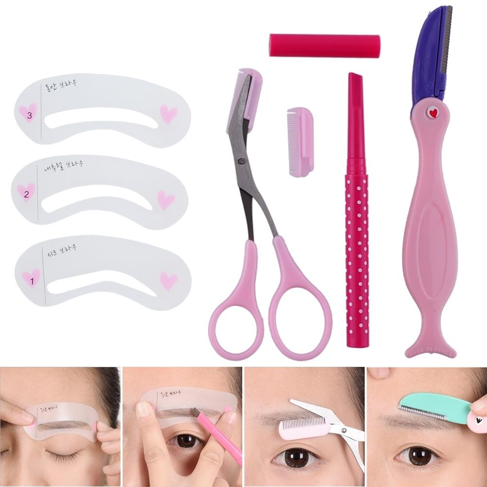 Eyebrow thrush Thrush Eyebrow Shaping Tools with Brown Eyebrow Pencil 1 Set Eyebrow Stencils Tools Set(China (Mainland))