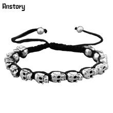 Fashion Jewelry Vintage Look Silver Plated Handmade Rope Woven Skull  Bead Bracelet B404(China (Mainland))