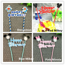 Retail 4 set/lot Doraemon/ Mickey/ Minnie Style Cake Flag With Paper Straw DIY Party Decoration
