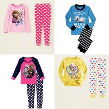 2-7 Years Anna Elsa Kids Pajama Snow Queen Princess Baby Girls Nightwear Cotton Boys Kids Pyjamas Sleep Clothing Set 2016 Roupas