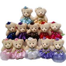 Wholesale 10PCS/lot 12CM lovely girls plush toy doll stuff&plush mini bouquets bear toy for promotional gift(China (Mainland))