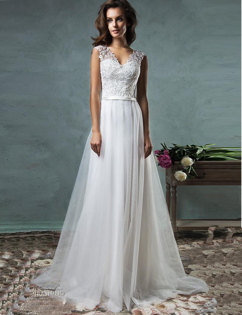 Buy vestido de noiva a line beach wedding for Wedding dress with see through back