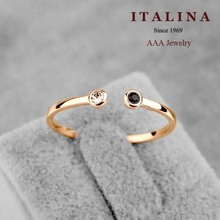 9$ Free Shipping! AAA Italina Jewelry Gold Plated Delicate Opening Crystal Small Ring for Women/Girls
