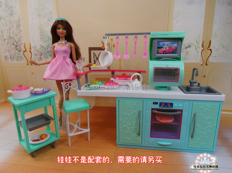 Free Shipping Girl birthday gift  DIY Kitchen set re-ment play toy kitchen sets doll accessories doll furniture for barbie doll<br><br>Aliexpress