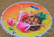 Fashion Sunbathe Round Beach Towel Large Microfiber Printed Yoga Towel With Tassel Serviette De Plage Toalla Circle Playa shawl(China (Mainland))