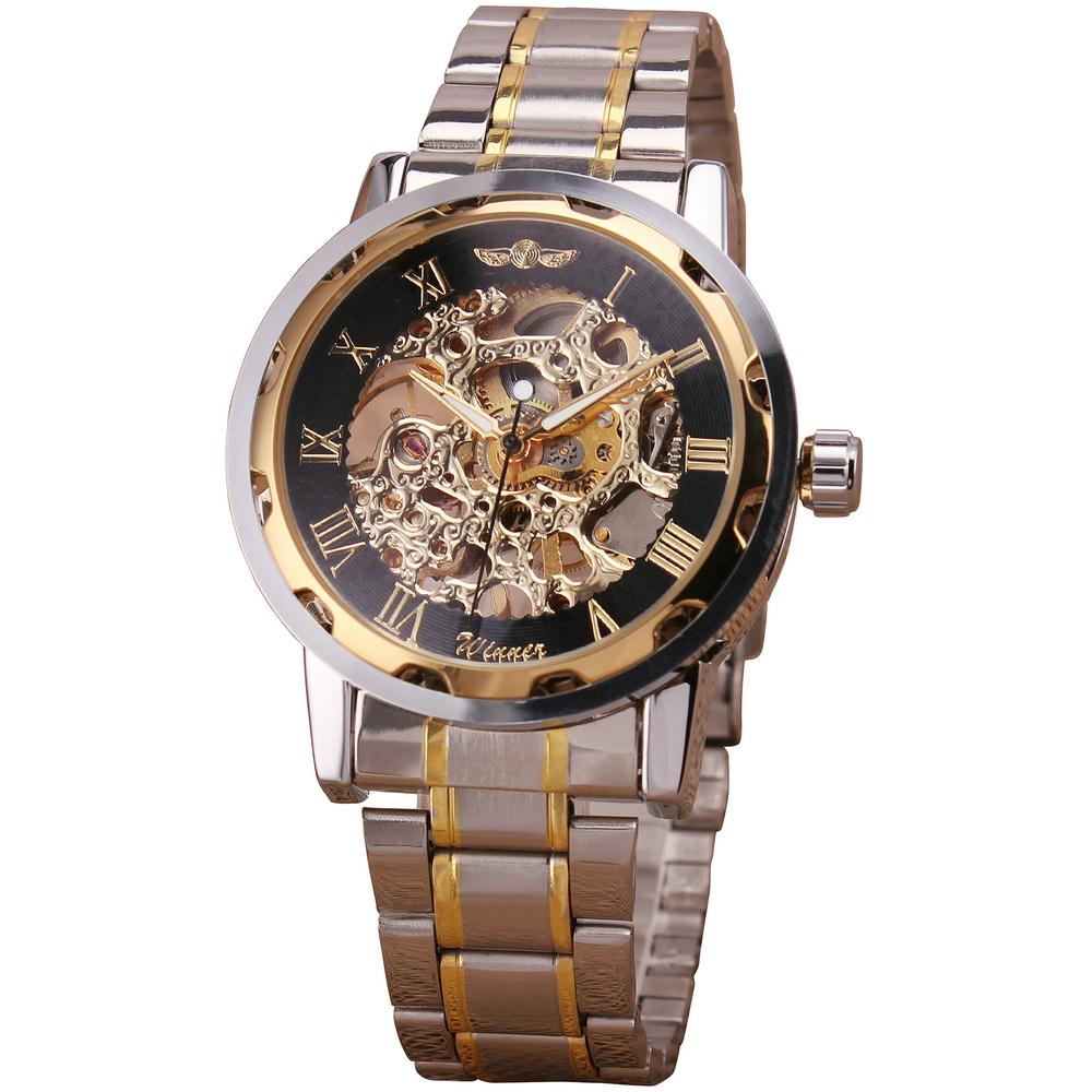 New Luxury Golden Strap Hallow Business Formal Classic Roman Design Men's Mechanical Watch Hand-wind Hot Anniversary Gift + BOX(China (Mainland))
