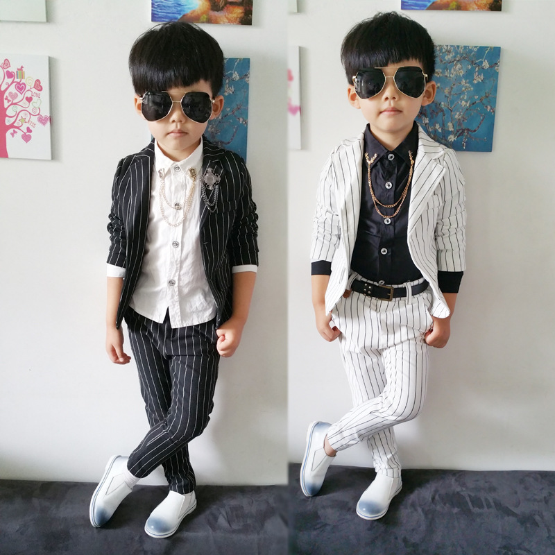Aliexpress.com  Buy 2015 Autumn child Blazers suit stripe Baby Boys Clothes set Coat + trousers ...