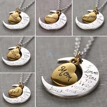 Je te aime à la lune et retour collier en argent colliers pendentifs mode de famille millésime femmes bijoux maman cadeau de noël(China (Mainland))
