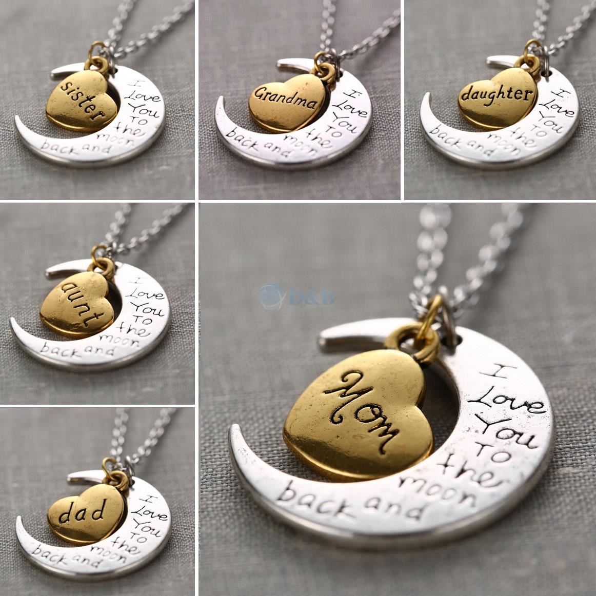 I Love You To The Moon And Back Silver Necklace Vintage Family Necklaces Pendants Fashion Women Jewelry Mom Christmas Gift(China (Mainland))