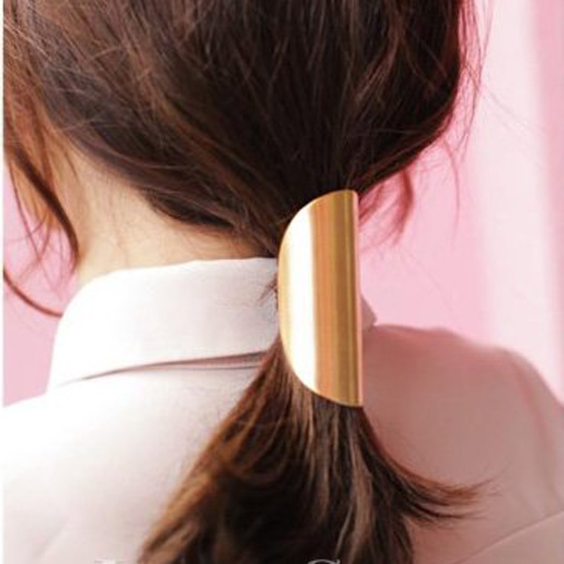 Lovely Jewelry Metal Big Gold/Silver Plated Elastic Ponytail Holder Women Hair Clip for lady girl Hair Ring accessories 5231(China (Mainland))