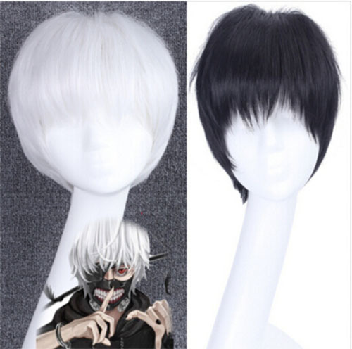 Tokyo Ghoul Kaneki Ken black white peruca cosplay synthetic wig realheat resistant halloween Anime harajuku anime perucas - HangZhou BOBO Cosplay Co., Ltd store