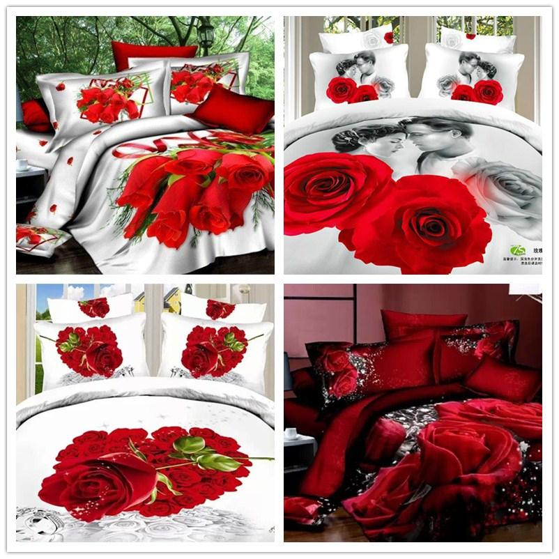 New Bedding sets Wedding 3D Red Rose Bedcover King size 100% Cotton Bed Sheet Duvet/Comforter/Quilt cover 4pcs Home Textile(China (Mainland))