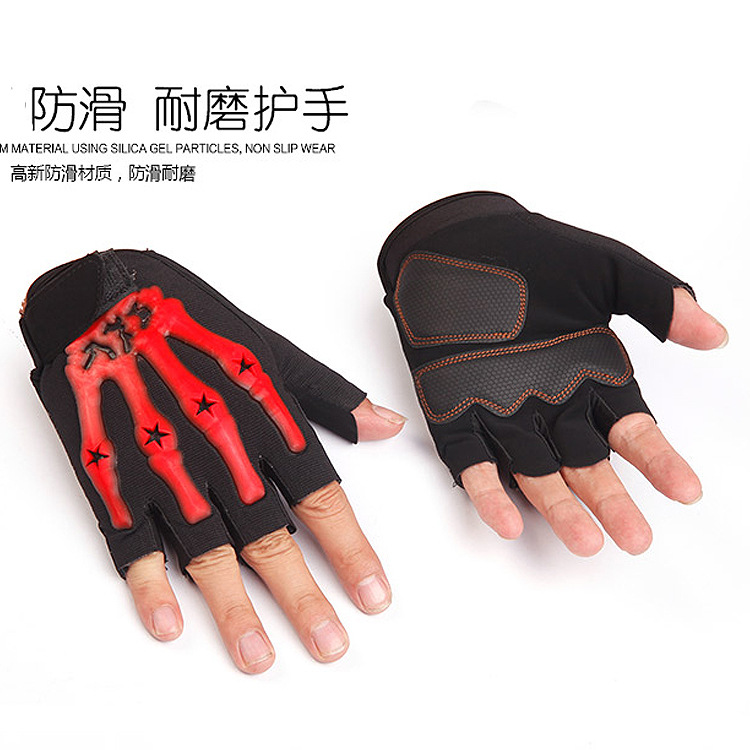 Half finger Off-road Racing riding motorcyle gloves Ghost claw outdoor sports breathable gloves Skull bones gloves A-0297(China (Mainland))