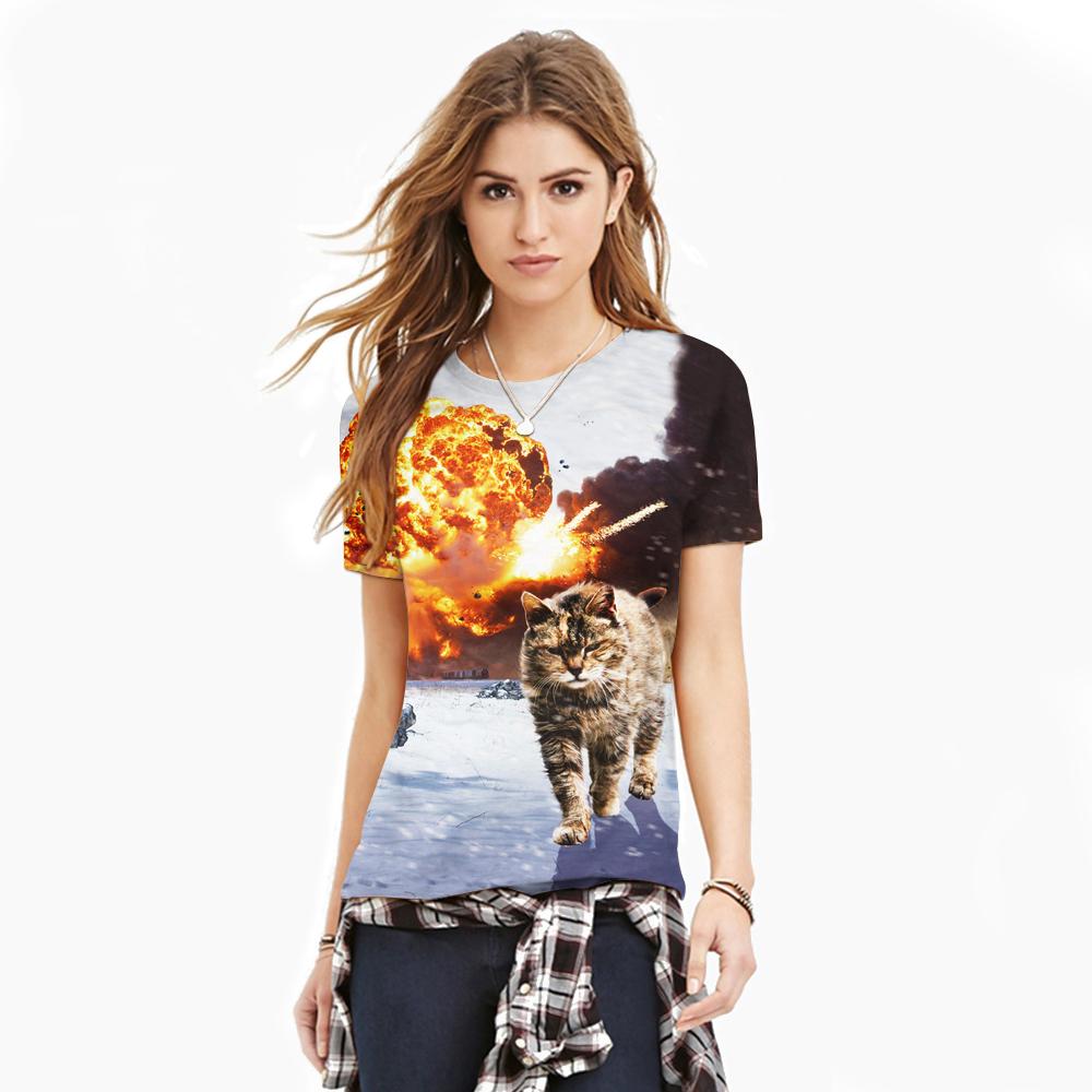 3D printed cartoon rock fashion Tshirt women plus size cat design couple T 2016 new o-neck short sleeve personalized T-shirt(China (Mainland))