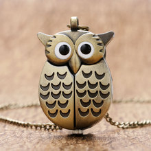 Bronze Night Owl Necklace Pendant Quartz Steampunk Pocket Watch Chain for Men Women P27(China (Mainland))