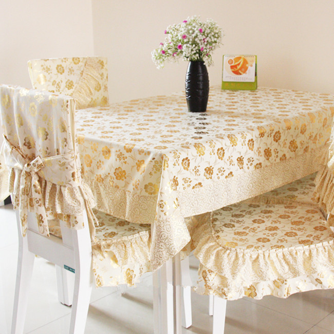 Luxury simple european tablecloth dining table cloth table linen cushion chair covers set(China (Mainland))