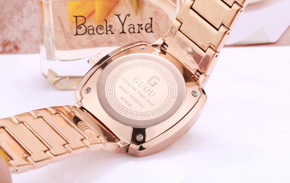 Марка Мужские Автоматические Часы Две Вертушки Мужской Розовое Золото Сталь Площади Бизнес-Кварц-часы Мужские Военные Наручные Часы Reloj