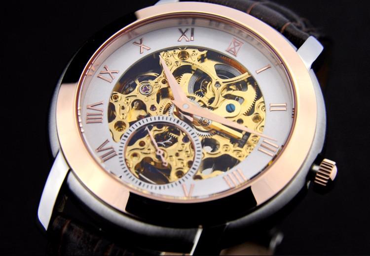 Люксовый бренд мужская Повседневная & Бизнес Часы Авто Механическая Скелет Аналоговый Кожаный Ремешок Сапфировое Рим Цифра Наручные Часы