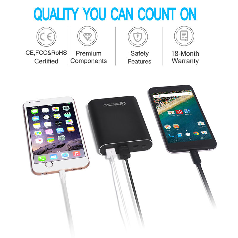 CHOETECH 13600mAh Quick Charge 2.0 Power Bank Fast Charge Powerbank Battery Packs for mobile phones and tablets