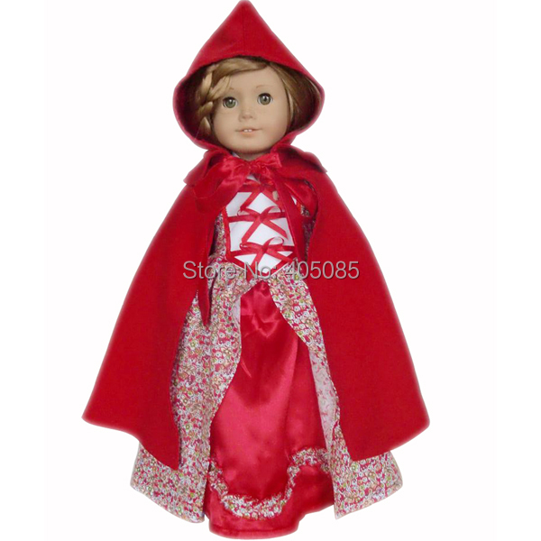 """Dress+Cloak Red Hat Doll Clothes Dress For 18"""" American Girl Handmade(China (Mainland))"""