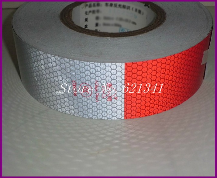 1 Roll 5cm(W)*10m(L) Truck Reflective Warning Stickers Reflective Tape RT022(China (Mainland))
