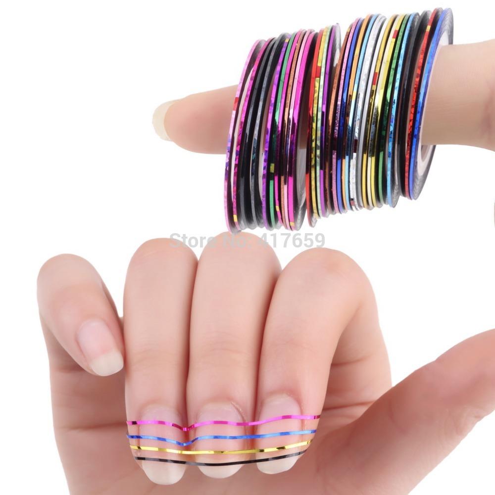 Гаджет  30 Pcs Mixed Colors Rolls Striping Tape Line Nail Art Tips Decoration Sticker None Красота и здоровье