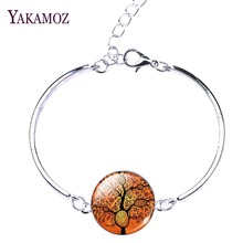Buy 2017 silver plated Chain Bracelets Love Bangles Life Tree Glass Cabochon Silver Bracelets Bangles Women Fashion Jewelry for $1.25 in AliExpress store